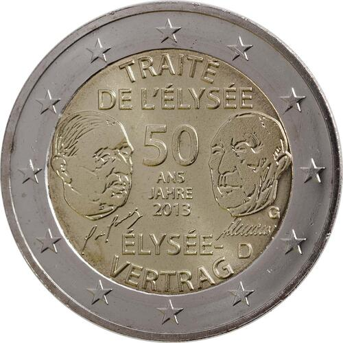 Rückseite :Deutschland : 2 Euro Elysée-Vertrag  2013 Stgl.