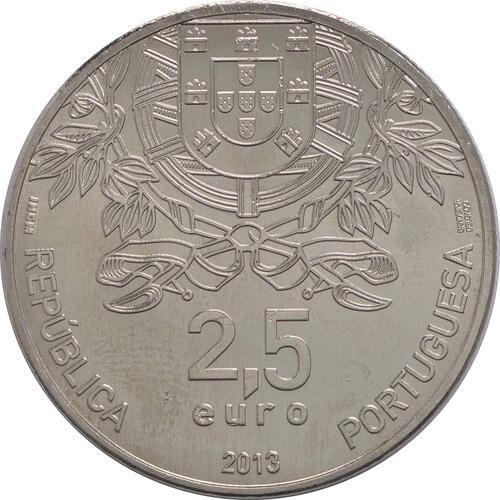 Rückseite:Portugal : 2,5 Euro 150 Jahre Rotes Kreuz  2013 vz/Stgl.
