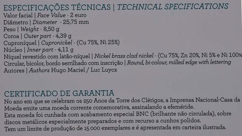 Zertifikat :Portugal : 2 Euro Torre dos Clérigos  2013 Stgl.