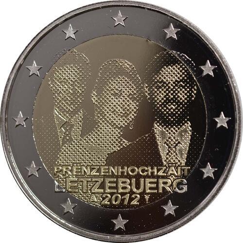 Rückseite :Luxemburg : 2 Euro Hochzeit Guillaume und Stephanie  2012 PP