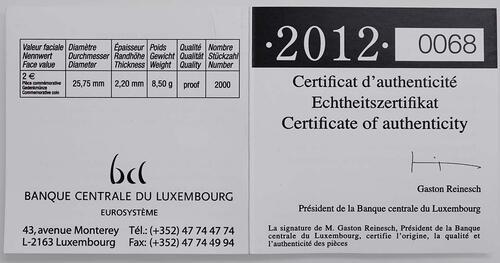 Zertifikat :Luxemburg : 2 Euro Hochzeit Guillaume und Stephanie  2012 PP