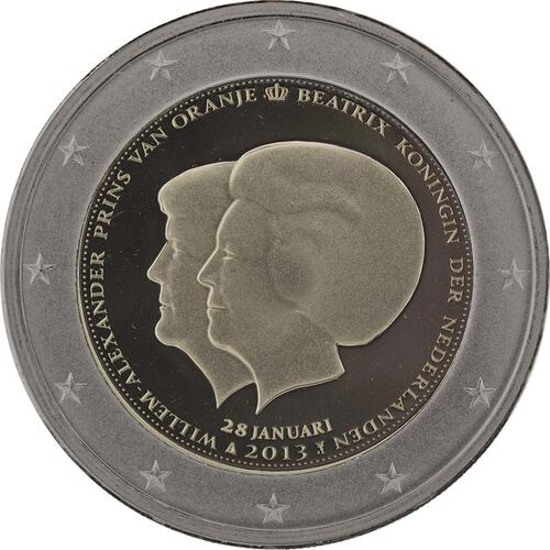 Rückseite :Niederlande : 2 Euro Thronwechsel - Doppelportrait Beatrix / Willem Alexander  2013 PP