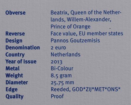 Zertifikat :Niederlande : 2 Euro Thronwechsel - Doppelportrait Beatrix / Willem Alexander  2013 PP