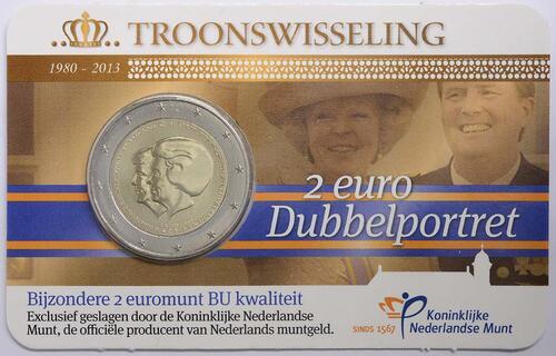 Lieferumfang :Niederlande : 2 Euro Thronwechsel - Doppelportrait Beatrix / Willem Alexander  2013 Stgl.