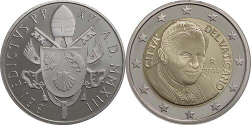 Rückseite:Vatikan : 23,88 Euro KMS Vatikan Benedikt XVI. + 20 Euro Gedenkmünze Verdi  2013 PP KMS Vatikan 2013 PP SILBER