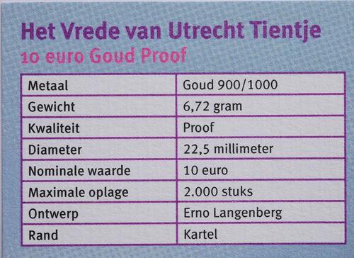 Zertifikat:Niederlande : 10 Euro 300 Jahre Frieden von Utrecht  2013 PP