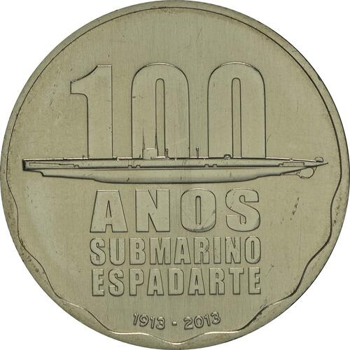 Vorderseite:Portugal : 2,5 Euro 100 Jahre erstes portugiesisches U-Boot  2013 Stgl.