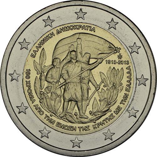 Rückseite :Griechenland : 2 Euro 100 Jahre Vereinigung Kreta mit Griechenland  2013 bfr