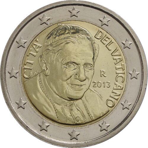 Rückseite:Vatikan : 3,88 Euro KMS Vatikan Benedikt XVI.  2013 Stgl. KMS Vatikan 2013 BU