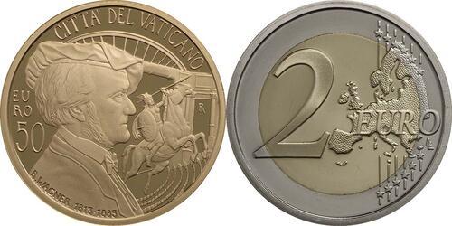 Vorderseite:Vatikan : 53,88 Euro KMS Vatikan inkl. 50 Euro Goldmünze Richard Wagner  2013 PP