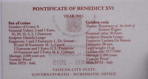 Zertifikat:Vatikan : 53,88 Euro KMS Vatikan inkl. 50 Euro Goldmünze Richard Wagner  2013 PP