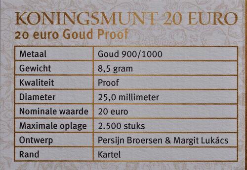 Zertifikat:Niederlande : 20 Euro König Willem Alexander  2013 PP