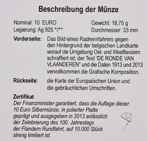 Zertifikat:Belgien : 10 Euro 100 Jahre Flandern-Rundfahrt  2013 PP