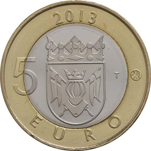 Rückseite:Finnland : 5 Euro Finnland - Kathedrale Turku  2013 Stgl.