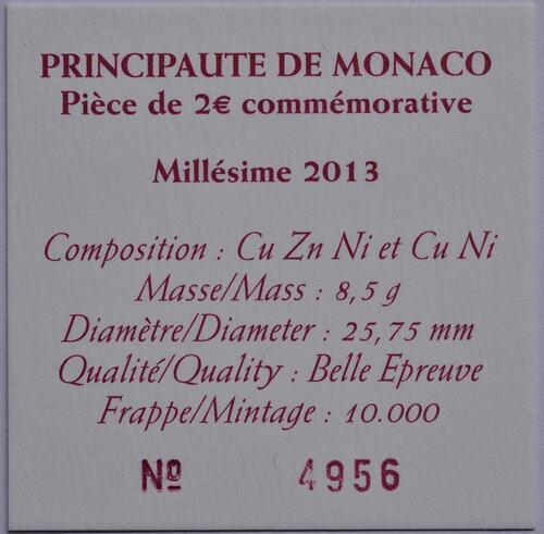 Zertifikat :Monaco : 2 Euro Uno  2013 PP
