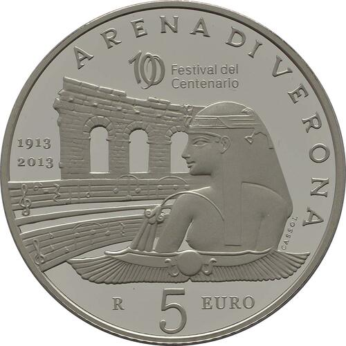 Vorderseite:San Marino : 5 Euro 100 Jahre Opernfestival in Verona  2013 PP