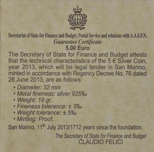 Zertifikat:San Marino : 5 Euro 100 Jahre Opernfestival in Verona  2013 PP