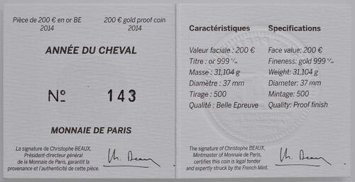 Zertifikat:Frankreich : 200 Euro Jahr des Pferdes  2014 PP