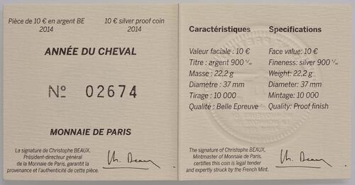Zertifikat:Frankreich : 10 Euro Jahr des Pferdes  2014 PP
