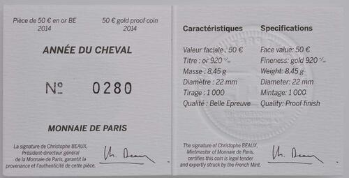 Zertifikat:Frankreich : 50 Euro Jahr des Pferdes  2014 PP