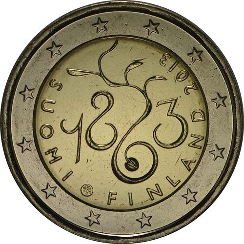 Rückseite :Finnland : 2 Euro Parlament von 1863  2013 bfr