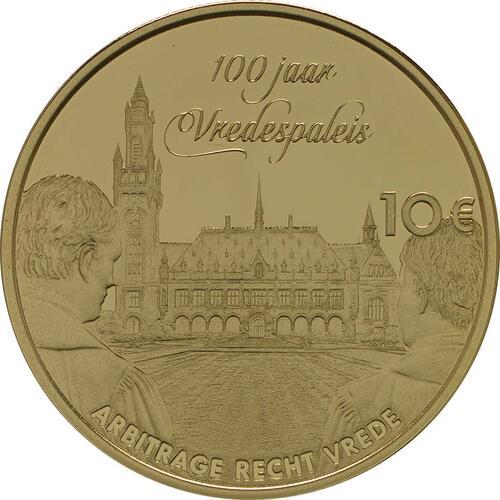 Rückseite:Niederlande : 10 Euro 100 Jahre Friedenspalast  2013 PP