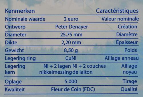 Zertifikat:Belgien : 2 Euro Meteorologisches Institut  2013 Stgl.