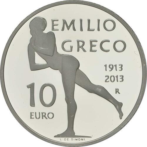 Vorderseite:San Marino : 10 Euro 100. Jahrestag der Geburt Emilio Grecos  2013 PP