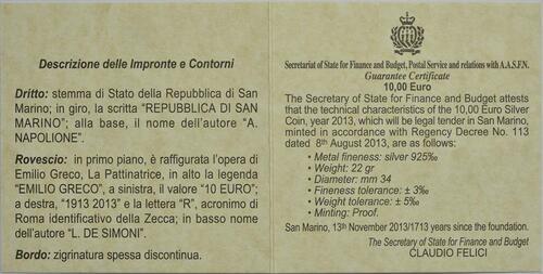 Zertifikat:San Marino : 10 Euro 100. Jahrestag der Geburt Emilio Grecos  2013 PP