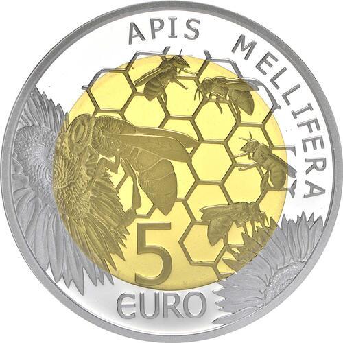 Rückseite:Luxemburg : 5 Euro Honigbiene - Biene  2013 PP Biene
