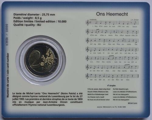 Zertifikat :Luxemburg : 2 Euro Nationalhymne  2013 Stgl.