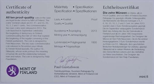 Zertifikat:Finnland : 7,88 Euro KMS Finnland  2013 PP