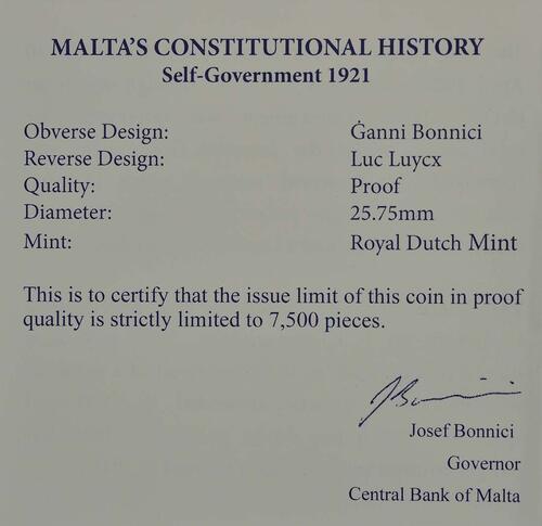 Zertifikat :Malta : 2 Euro Selbstverwaltung  2013 PP