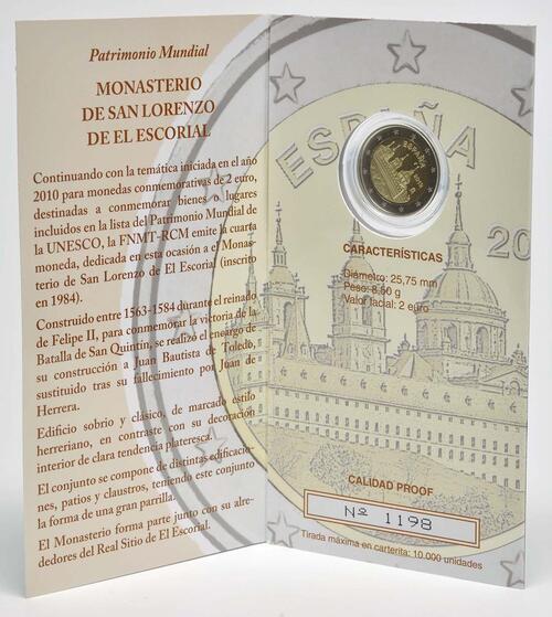 Lieferumfang :Spanien : 2 Euro El Escorial  2013 PP