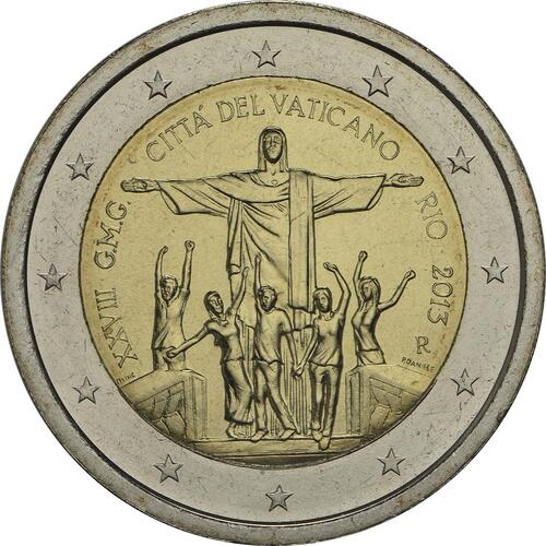 Rückseite :Vatikan : 2 Euro Rio de Janeiro  2013 Stgl.