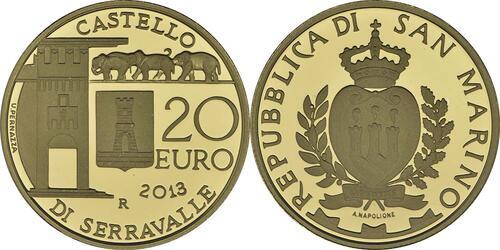 Rückseite:San Marino : 70 Euro Set: 20+50 Euro Architektonische Elemente , Dorf von Serravalle  2013 PP