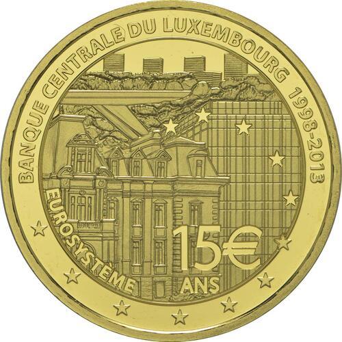 Rückseite:Luxemburg : 15 Euro 15 Jahre Zentralbank Luxemburg  2013 PP