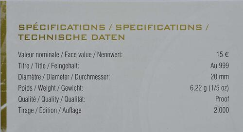 Zertifikat:Luxemburg : 15 Euro 15 Jahre Zentralbank Luxemburg  2013 PP
