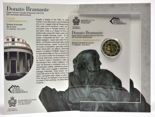 Lieferumfang:San Marino : 2 Euro 500. Todestag Donato Bramante  2014 Stgl.