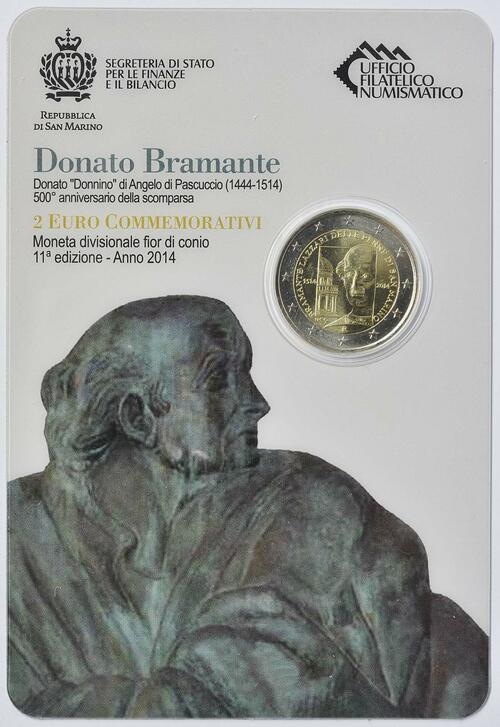 Zertifikat:San Marino : 2 Euro 500. Todestag Donato Bramante  2014 Stgl.