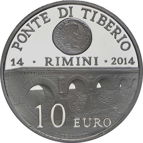 Vorderseite:San Marino : 10 Euro Ponte Tiberio in Rimini  2014 PP