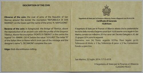 Zertifikat:San Marino : 10 Euro Ponte Tiberio in Rimini  2014 PP