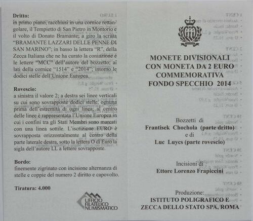 Zertifikat:San Marino : 5,88 Euro KMS San Marino inklusive 2 Euro Bramante  2014 PP
