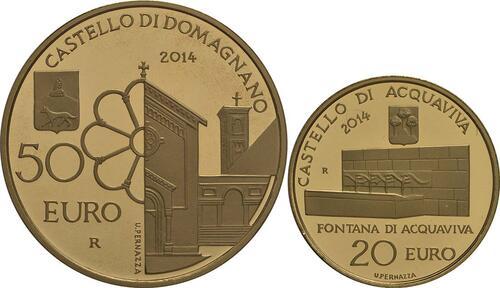 Vorderseite:San Marino : 70 Euro Set: 20+50 Euro : Acquaviva und Domagnano  2014 PP