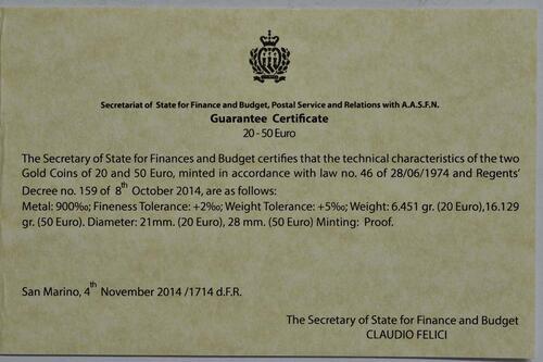 Zertifikat:San Marino : 70 Euro Set: 20+50 Euro : Acquaviva und Domagnano  2014 PP