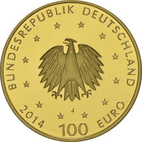 Rückseite:Deutschland : 100 Euro Kloster Lorsch 1250. Gründungsjubiläum Buchstabe unserer Wahl  2014 Stgl.