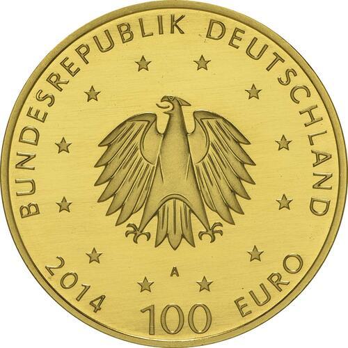 Rückseite:Deutschland : 100 Euro Kloster Lorsch 1250. Gründungsjubiläum  2014 Stgl.