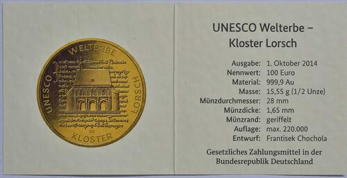 Zertifikat :Deutschland : 100 Euro Kloster Lorsch 1250. Gründungsjubiläum  2014 Stgl.