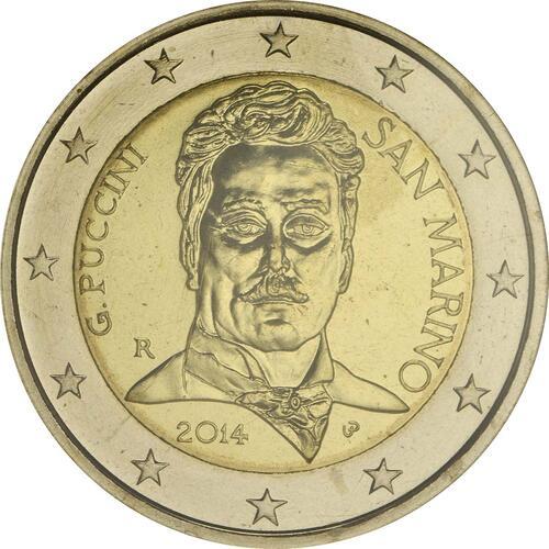 Rückseite:San Marino : 2 Euro 90. Todestag von Giacomo Puccini  2014 Stgl.