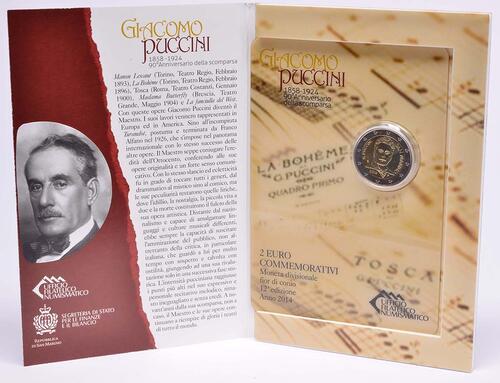 Lieferumfang:San Marino : 2 Euro 90. Todestag von Giacomo Puccini  2014 Stgl.